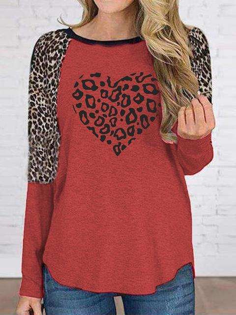 Leopard Love Print Regular Tops