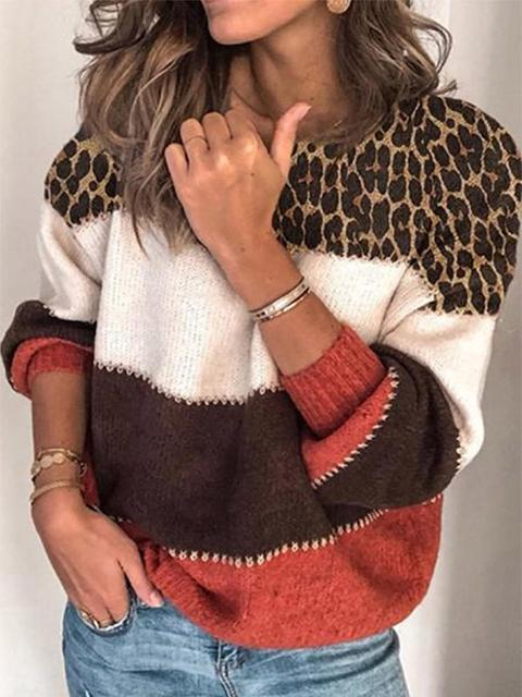 Leopard Patchwork Color Block Knitting Sweater