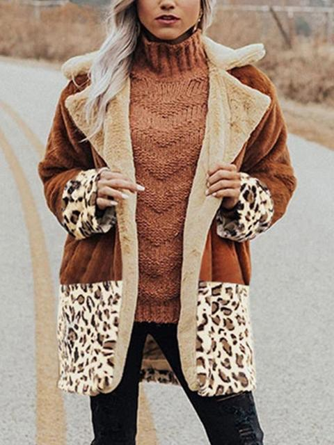 Leopard Patchwork Contrast Color Plush Coat