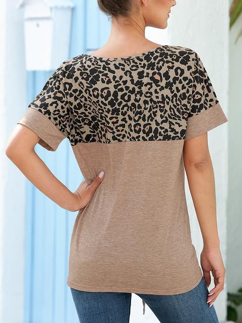 Leopard Patchwork Sequin Pocket Casual T-shirt
