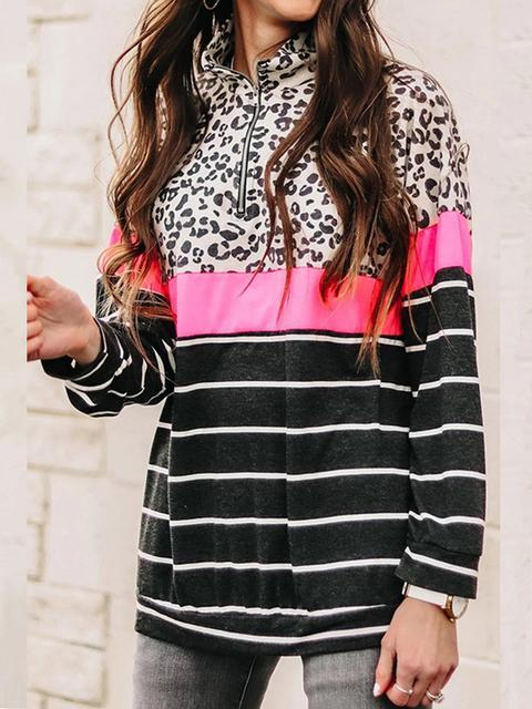 Leopard Patchwork Striped Print Sweatshirt