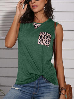 Leopard Patchwork Twisted Tank Tops