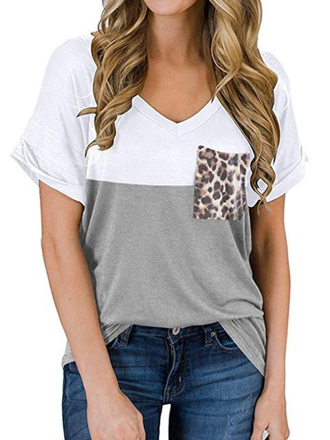 Leopard Pocket Color Block Loose T-shirt