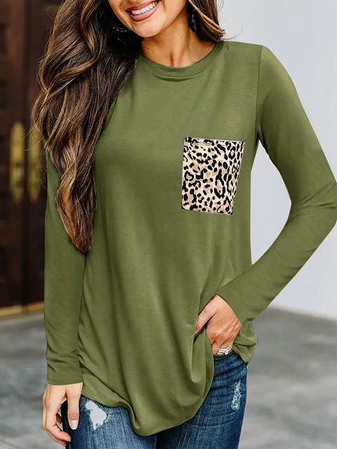 Leopard Pocket Long Sleeve Casual Tops