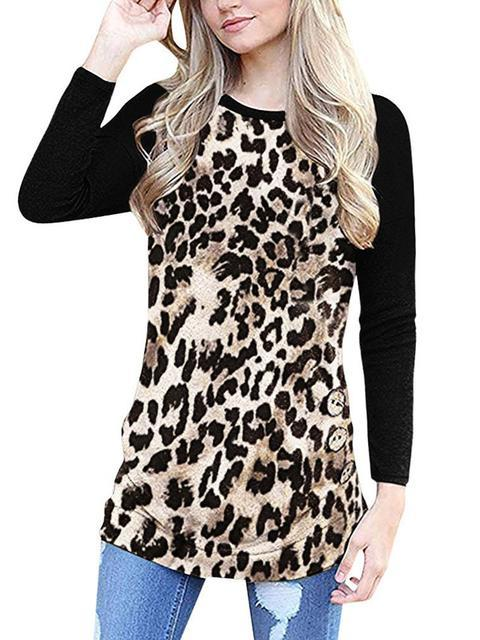 Leopard Print Buttons Long Sleeve T-shirt