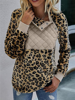 Leopard Print Buttons Up Sweatshirt