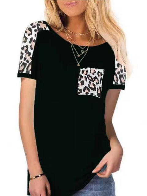 Leopard Print Pocket Short Sleeve T-shirt