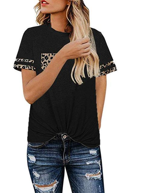Leopard Print Pocket T-shirt