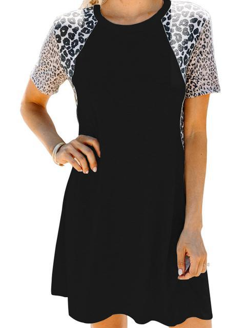 Leopard Print Sleeve Loose Dress