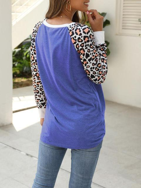 Leopard Print Sleeve Twisted Tops