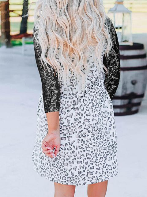 Leopard Print Snakeskin Sleeve Short Dress