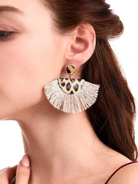 Leopard Print Tassel Leather Earrings