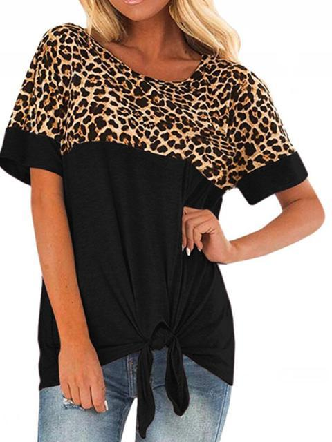 Leopard Print Patchwork Twist Knot Top