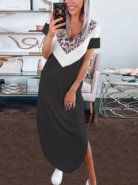 Leopard Print V-neck Casual Dress