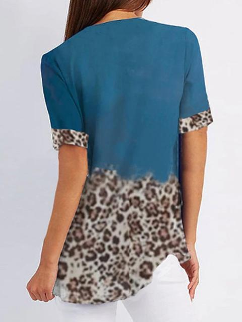 Leopard Print Zipper Up Tops