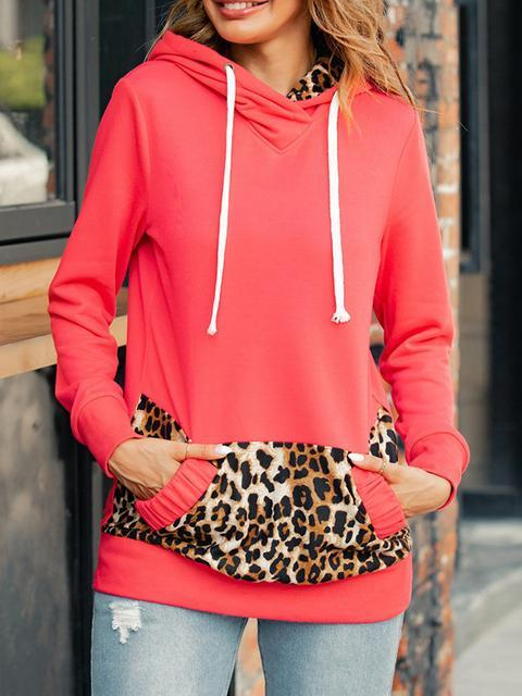 Leopard Splicing Hooded Sweatshirt