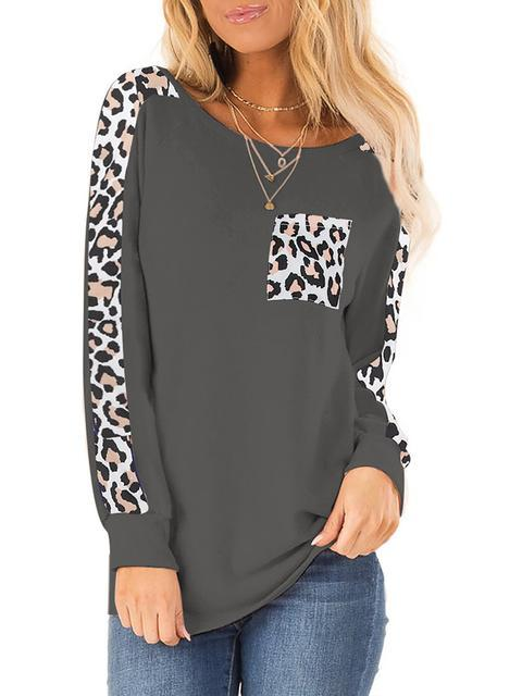 Leopard Stitching Pocket Casual Tops