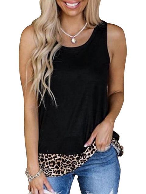 Leopard Stitching Round Neck Tops