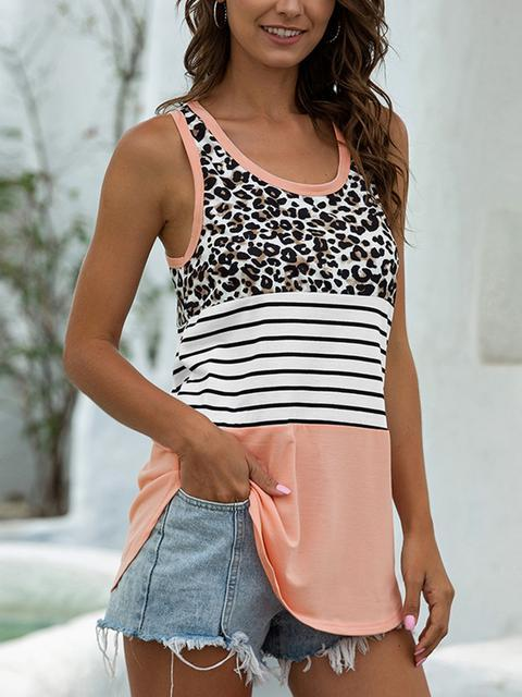 Leopard Striped Patchowrk Vest Tops