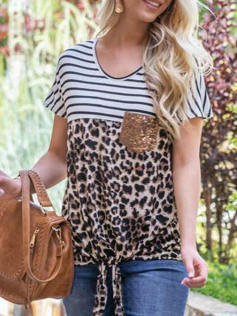 Leopard Stripes Print Casual T-shirt