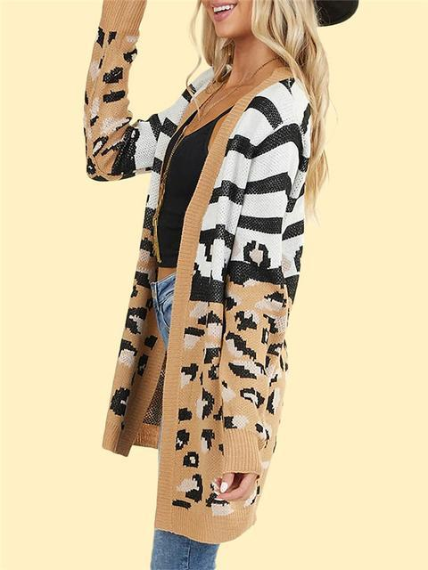 Leopard Stripes Print Knitting Cardigan