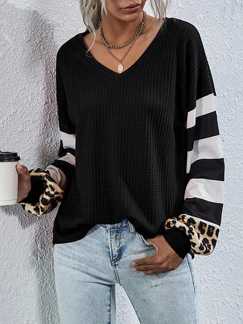 Leopard Stripes Sleeve Loose Tops
