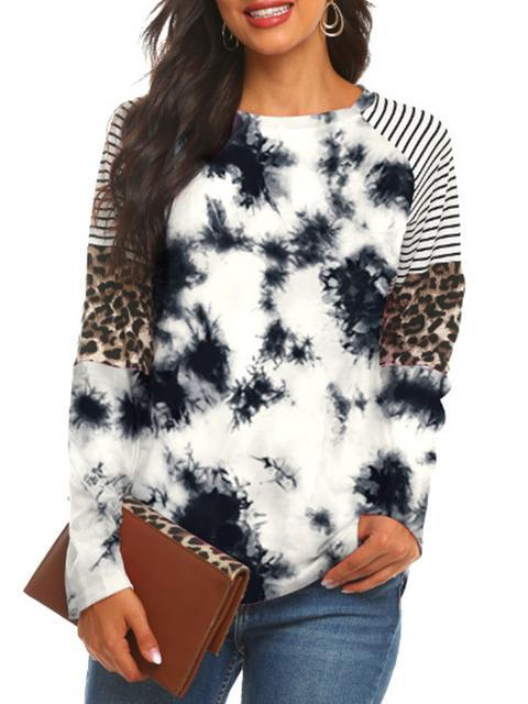 Leopard Stripes Tie-dye Print Tops