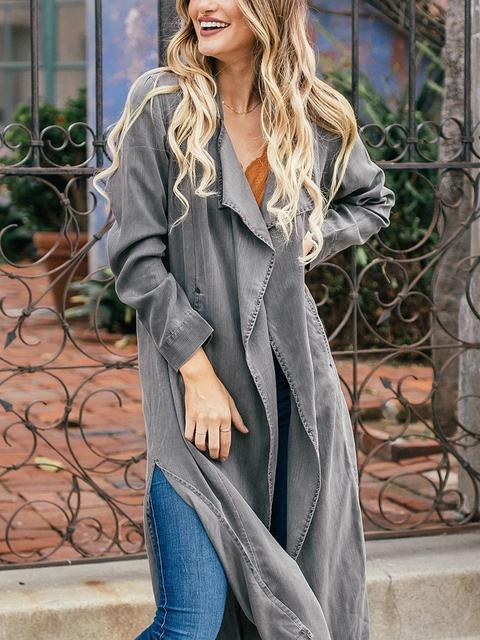 Lightweight Trench Long Sleeve Shift Outerwear