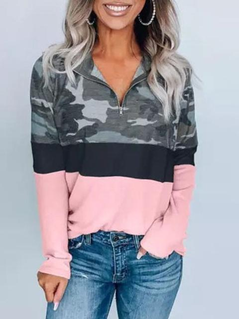 Long Sleeve Camo Print Pullover