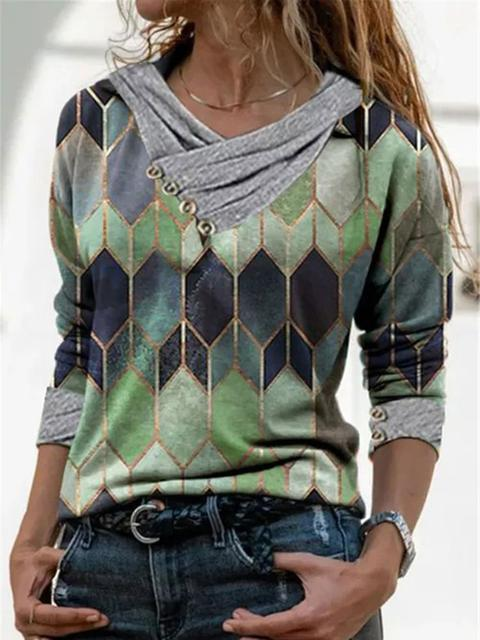 Long Sleeve Casual Print Blouse Tops