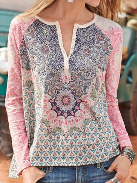 Long Sleeve Floral Print T-shirt