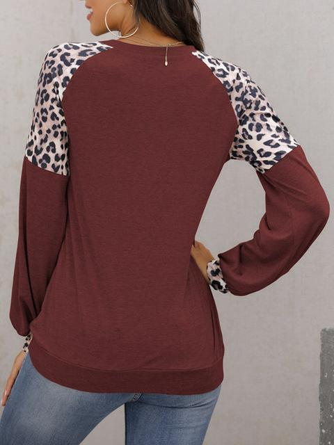 Long Sleeve Leopard Patchwork Tops