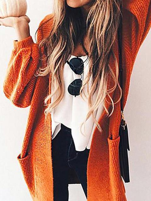 Long Sleeve Open Solid Cardigan Coat