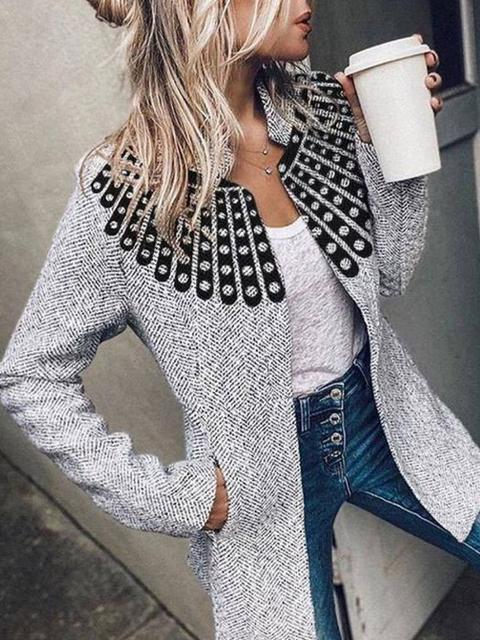 Long Sleeve Printed Slim Blazer Jacket