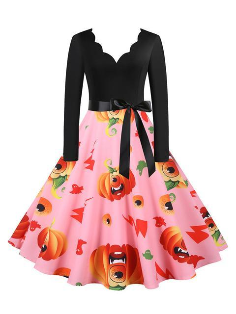 Long Sleeve Pumpkin Print Halloween Dress