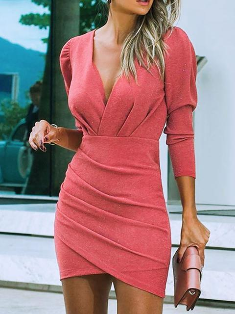 Long Sleeves Bodycon Overknee Casual Dresses