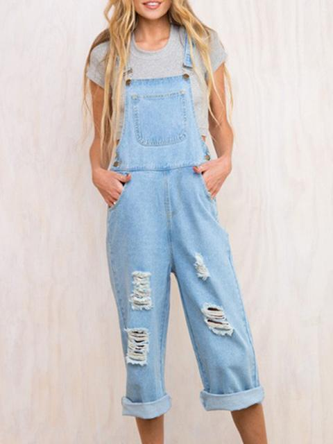 Longgar Denim Overall Jumpsuit