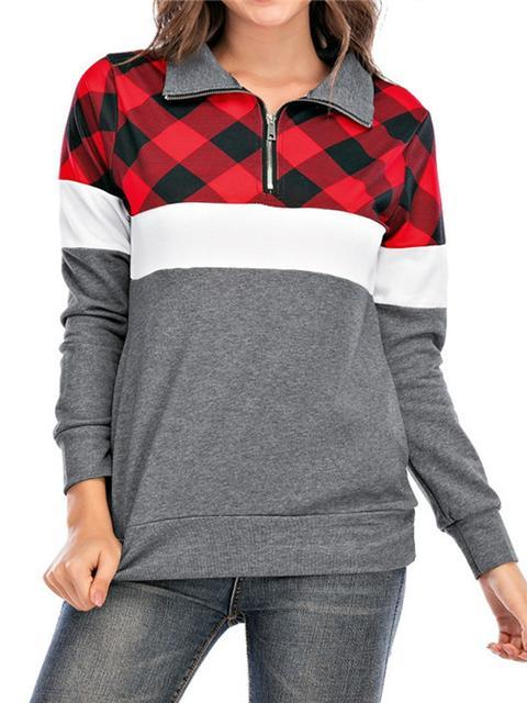 Plaid Print Color Block Pullover With Pockets