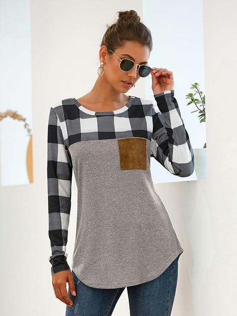 Plaid Print Long Sleeve T-shirt