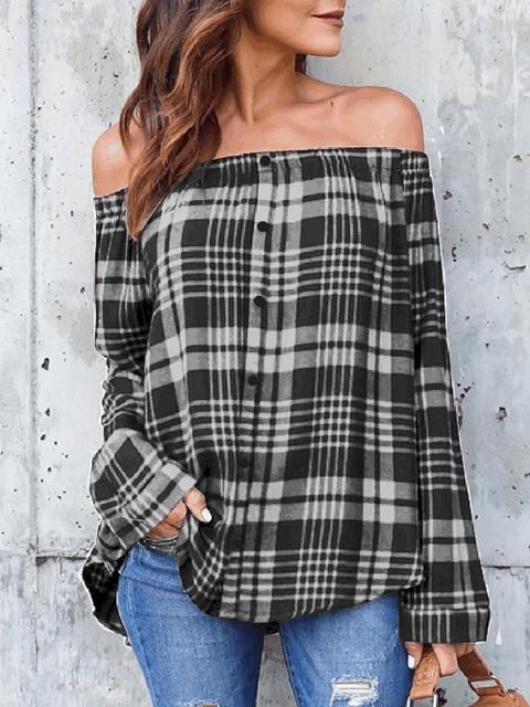 Plaid Print Shoulder Tops