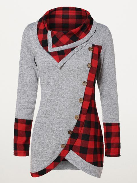 Plaid Turtleneck Tartan Tunic Sweatshirt