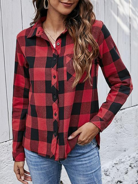 Plaid V Neck Cotton Blend Casual Blouse