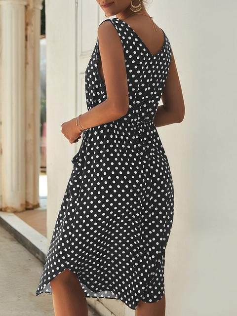 Polka Dot Print Midi Dress With Pockets