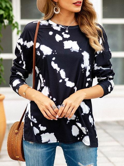 Print Round Neck Regular Tops