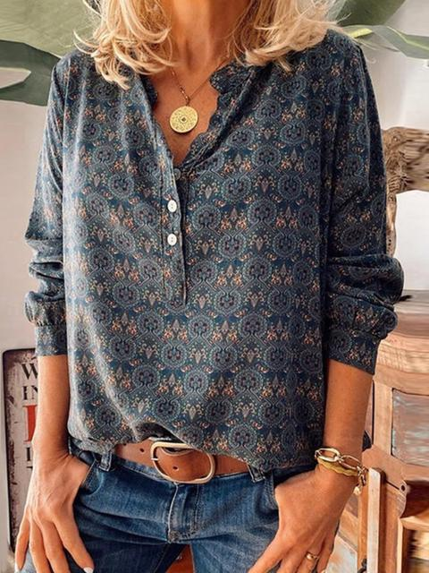 Print V-Neckline Long Sleeve T-shirts