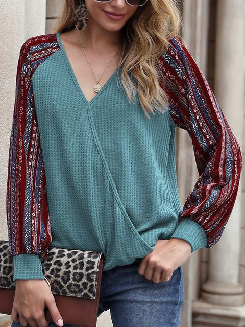 Printed Cross Waffle Knit Tops