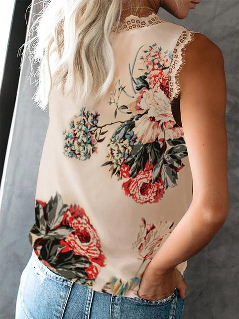 Printed Lace Patchwork V-neck Tank Tops