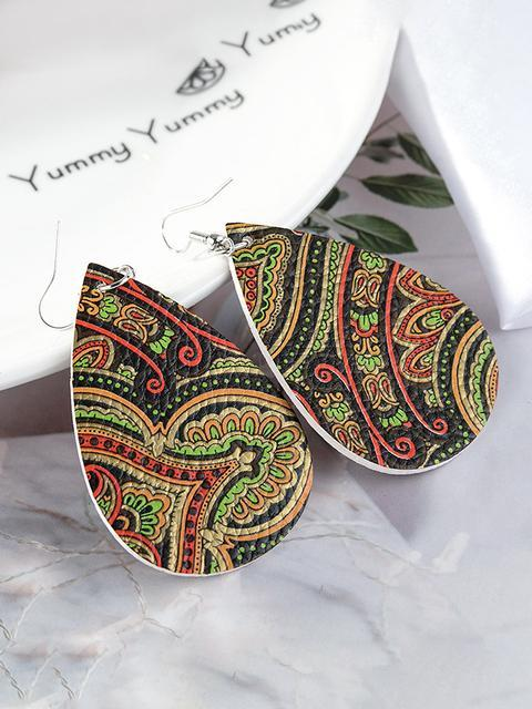 Printed PU Leather Earrings