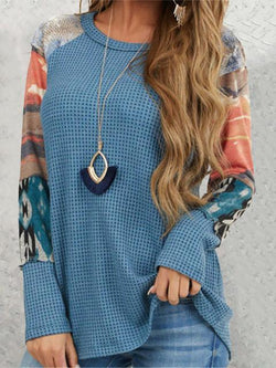 Printed Sleeve Casual Waffle Tops