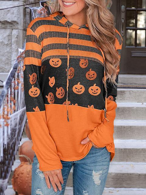 Pumpkin Stripes Print Drawsrting Hoodie